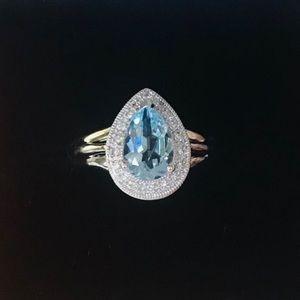 14K Solid White Gold Blue Topaz diamond Ring NEW